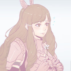 1girl armor brown_eyes brown_hair female fire_emblem fire_emblem:_kakusei flower gradient gradient_background koyoriin pale_color solo sumia tagme