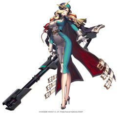 1girl blonde_hair blue_eyes breasts chaos_heroes_online character_request cleavage dress full_body gloves gun hat high_heels highres long_hair love_cacao military military_uniform one_eye_covered standing uniform weapon white_gloves