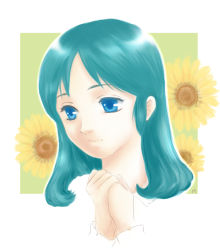 1girl blue_eyes blue_hair flower green_hair long_hair minaru nippon_animation princess_sarah sarah_crewe solo sunflower world_masterpiece_theater