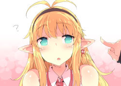 /\/\/\ 1girl :o ? antenna_hair aqua_eyes bare_shoulders beads blonde_hair blush collared_vest eyebrows eyebrows_visible_through_hair fingers hair_beads hair_ornament long_hair looking_to_the_side necktie parted_lips petenshi_(dr._vermilion) pointy_ears red_necktie shiny shiny_skin sleeveless smile solo_focus surprised tareme tsurumaki_maki upper_body vocaloid voiceroid white_vest yuzuki_yukari