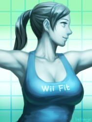 1girl armpits bellhenge breasts cleavage grey_eyes grey_hair highres large_breasts lips long_hair nose ponytail smile solo super_smash_bros. tank_top upper_body white_skin wii_fit wii_fit_trainer