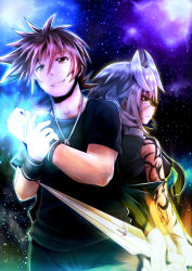1boy 1girl arkfield back-to-back blade cross glowing glowing_hand glowing_weapon grin highres jewelry kadenz_fermata//akkord:fortissimo necklace short_hair sky smile star_(sky) starry_sky tattoo weapon wristband