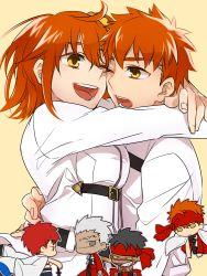 1girl 5boys archer avenger black_hair chibi chibi_inset emiya_shirou emiya_shirou_(prisma_illya) fate/grand_order fate/hollow_ataraxia fate/kaleid_liner_prisma_illya fate/stay_night fate_(series) fujimaru_ritsuka_(female) headband hug limited/zero_over multiple_boys orange_eyes orange_hair otama_(user_amn0382) side_ponytail spoilers uniform white_hair