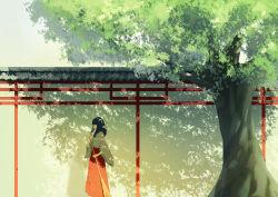 1girl bangs black_hair blunt_bangs broom cjl6y5r eyes_closed highres japanese_clothes long_hair miko original solo tree
