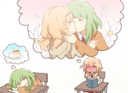 2girls blonde_hair blush book cake carrot chair closed_mouth collared_shirt desk emblem eyes_closed flower food full-face_blush gradient gradient_background green_hair gumi halftone halftone_background heart holding holding_book hood hoodie iede_no_shounen_to_maigo_shoujo incipient_kiss kagamine_rin long_hair long_sleeves multiple_girls necktie open_book orange_sweater paper parted_lips plate red_necktie school_desk shirt sitting sketch slice_of_cake sweater tensei_shoujo_to_tensei_shounen thought_bubble trembling vocaloid wavy_mouth white_shirt wing_collar yunare yuri zipper