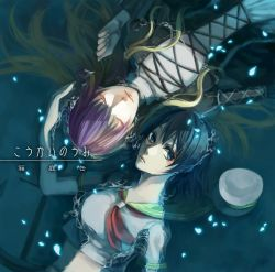2girls album_cover anchor ascot black_dress black_hair blonde_hair blue_eyes breasts commentary_request cover crop_top dress eyes_closed gradient_hair hat hat_removed headwear_removed hijiri_byakuren layered_dress lips long_hair looking_at_viewer midriff multicolored_hair multiple_girls murasa_minamitsu partially_submerged petals purple_hair sailor_collar sailor_hat short_hair side-by-side touhou translation_request turtleneck very_long_hair water white_dress