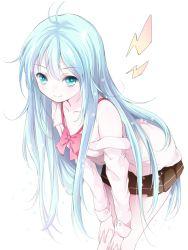 1girl blue_eyes blue_hair denpa_onna_to_seishun_otoko long_hair simple_background skirt smile solo touwa_erio very_long_hair white_background yatomi