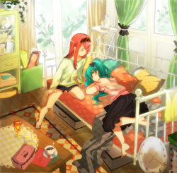 2girls bed multiple_girls tagme vocaloid