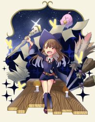 1girl aikoi_(arararaaren) akko_kagari broom brown_eyes brown_hair candle colored hat highres little_witch_academia long_hair night night_sky open_mouth paper sky solo staff star_(sky) starry_sky stuffed_animal stuffed_toy witch_hat