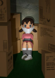 3d bondage dirty_socks doraemon gag gagged loli minamoto_shizuka pii_(taromura) socks tape
