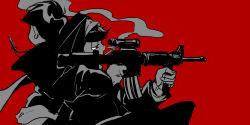 2boys back-to-back black_hair brothers cassock cigarette cross crossdressing from_side gun habit machine_gun male_focus matsuno_ichimatsu matsuno_karamatsu multiple_boys nun osomatsu-kun osomatsu-san priest red_background red_eyes siblings simple_background smoke weapon