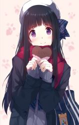 1girl bag bag_charm bangs black_hair black_jacket blue_bow blush bow caidychen closed_mouth coat confession diagonal_stripes eyebrows_visible_through_hair gift hair_bow hat holding holding_gift jacket long_hair long_sleeves looking_at_viewer pink_scarf pov purple_eyes scarf school_bag shoulder_bag sleeves_past_wrists smile solo striped striped_bow upper_body white_hat