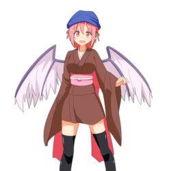 1girl animal_ears bird_ears bird_wings black_legwear cato_(monocatienus) earrings hat head_scarf japanese_clothes jewelry kimono long_sleeves mystia_lorelei obi okamisty open_mouth pink_hair red_eyes sash smile solo thighhighs touhou very_long_sleeves wide_sleeves wings yukata zettai_ryouiki