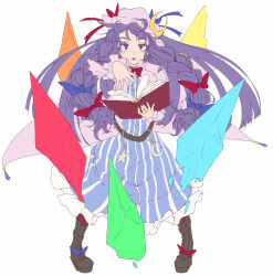 1girl aya_shachou belt book boots bow braid crescent female glyph hair_bow hat long_hair long_sleeves looking_at_viewer open_mouth outstretched_arm patchouli_knowledge purple_eyes purple_hair solo touhou twin_braids