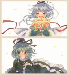 2girls blush border bouquet dress eyes_closed flower green_dress green_eyes green_hair hand_on_own_chest hat highres long_hair long_sleeves mononobe_no_futo multiple_girls open_mouth petals ponytail ribbon short_hair silver_hair simple_background smile soga_no_tojiko tate_eboshi touhou upper_body usamata white_background wide_sleeves wind