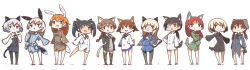 501st_joint_fighter_wing animal_ears black_hair blonde_hair blue_eyes blush_stickers braid brown_eyes brown_hair bunny_ears bunny_tail cat_ears cat_tail charlotte_e_yeager chibi dog_ears dog_tail eila_ilmatar_juutilainen erica_hartmann eyepatch francesca_lucchini gertrud_barkhorn glasses green_eyes grey_hair highres kinakomoti lynette_bishop military military_uniform minna-dietlinde_wilcke miyafuji_yoshika open_mouth orange_hair panties pantyhose perrine_h_clostermann ponytail red_hair sakamoto_mio sanya_v_litvyak smile strike_witches striped striped_legwear striped_panties tail thighhighs twintails underwear uniform white_background