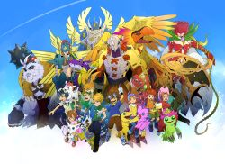 :d absurdres agumon armor bare_shoulders beak belt biyomon blonde_hair blue_eyes breasts brother_and_sister brothers brown_eyes brown_hair buckle cape claws digimon digimon_adventure dress dual_persona everyone flower flying gabumon gauntlets glasses gloves goggles goggles_on_head gomamon green_eyes hands_in_pockets hat head_wings helmet herculeskabuterimon highres horn horns hououmon insect insect_wings ishida_yamato izumi_koushirou jewelry kido_jou long_hair metalgarurumon mimxxpk monster multiple_boys multiple_girls multiple_wings navel necklace open_mouth ophanimon orange_hair palmon patamon red_hair rosemon scarf seraphimon sharp_teeth short_hair shorts siblings smile socks sweatdrop tachikawa_mimi tail_ring tailmon takaishi_takeru takenouchi_sora talons tentomon vikemon vines wargreymon whistle wings wristband yagami_hikari yagami_taichi