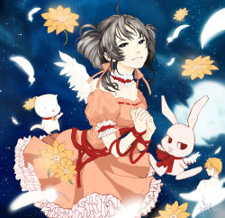 1boy 1girl black_hair drill_hair full_moon_wo_sagashite hands_clasped hyun kouyama_mitsuki meroko_yui meroko_yui_(bunny) sakurai_eichi short_hair smile takuto_kira takuto_kira_(cat)