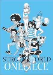 2girls 6+boys afro antlers bangs bespectacled brook cane_sword copyright_name cowboy_hat crossed_arms cyborg franky glasses goggles goggles_on_head haramaki hat monkey_d_luffy monochrome multiple_boys multiple_girls nami_(one_piece) nico_robin one_piece one_piece:_strong_world open_shirt reindeer roronoa_zoro sandai_kitetsu sanji shorts shusui sitting skeleton slingshot straw_hat sunglasses_on_head sweater swimsuit sword tony_tony_chopper too_mizuguchi twintails usopp wado_ichimonji