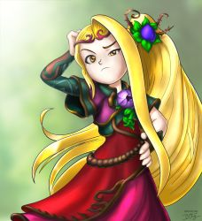 1girl bill_stiernberg blonde_hair dress flat_chest flower frown hair_flower hair_ornament hand_on_head hand_on_hip hand_on_own_head kid_icarus kid_icarus_uprising long_hair nachure ponytail side_ponytail signature solo very_long_hair viridi yellow_eyes