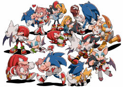 amy_rose aoki_(fumomo) bat_wings blonde_hair brown_hair carrying carrying_under_arm chaos_emerald cream_the_rabbit dress emerl gloves heart knuckles_the_echidna maria_robotnik miles_prower princess_carry princess_elise robot rouge_the_bat shadow_the_hedgehog shoes sneakers sonic sonic_the_hedgehog wings
