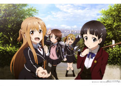 4girls absurdres asuna_(sao) black_eyes black_hair black_legwear black_skirt brown_eyes brown_hair hair_ribbon highres homura_naru kirigaya_suguha lisbeth long_hair looking_at_viewer multiple_girls open_mouth outdoors pleated_skirt red_ribbon ribbon school_uniform short_hair silica skirt sky socks sword_art_online thighhighs tree