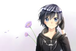 1girl black_hair blue_eyes cloak coat flower gloves gradient gradient_background kingdom_hearts short_hair solo tears xion_(kingdom_hearts)