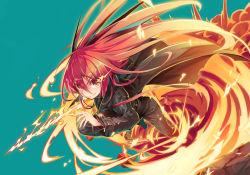 1girl fire long_hair red_eyes red_hair roke shakugan_no_shana shana sword trench_coat weapon
