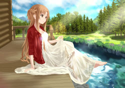 1girl arm_support asuna_(sao) barefoot braid brown_eyes brown_hair dress feet grass highres jacket lens_flare long_hair river sitting skirt_hold sky smile solo sword_art_online tree water