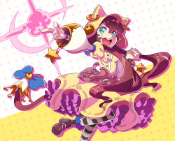1girl :d animal_hood aqua_eyes bangs bell belt blue_bow blush boots bow brown_belt brown_boots brown_hair buttons cat_hood cat_tail dress eyebrows_visible_through_hair frilled_dress frills hair_between_eyes hood hood_up index_finger_raised jingle_bell lasy long_hair long_sleeves open_mouth original pantyhose pouch puffy_long_sleeves puffy_sleeves scrunchie short_hair_with_long_locks silhouette smile sparkle star striped striped_legwear tail tail_bow teeth tongue wristband yellow_dress