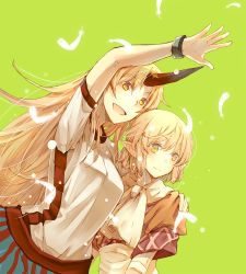 2girls atoki blonde_hair feathers green_eyes grey_background hand_on_another's_shoulder height_difference horn hoshiguma_yuugi long_hair mizuhashi_parsee multiple_girls oni open_mouth outstretched_arm pointy_ears scarf short_hair smile touhou yellow_eyes
