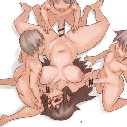 1girl 3boys blush breasts brown_eyes brown_hair censored cum cum_on_body cum_on_breasts cum_on_upper_body double_handjob fat_mons fellatio freckles glasses group_sex handjob inverted_nipples large_breasts licking long_hair lying messy_hair multiple_boys navel noname_(nowhere) penis plump pussy red-framed_glasses semi-rimless_glasses spread_legs sweat under-rim_glasses vaginal yonezawa_natsumi yuusha_to_maou