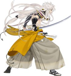 1boy clenched_teeth fingerless_gloves full_body gloves ipev japanese_clothes katana kogitsunemaru long_hair low-tied_long_hair male_focus official_art red_eyes sandals sheath shirtless simple_background sode solo sword tabi touken_ranbu transparent_background very_long_hair weapon