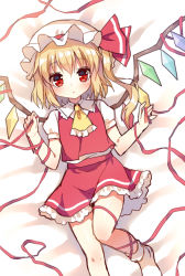 1girl ascot blonde_hair blush flandre_scarlet hat long_hair looking_at_viewer lying mauve on_back red_eyes red_ribbon ribbon side_ponytail sketch socks solo touhou wings