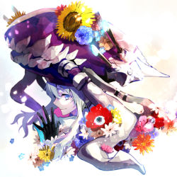 1girl black_gloves blue_eyes colorful flower gloves hands_together hat hat_flower kantai_collection light_particles light_smile nozaki_tsubata payot profile shinkaisei-kan short_hair solo sunflower tentacle turret white_hair white_skin wo-class_aircraft_carrier