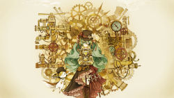 1girl animal aqua_eyes aqua_hair black_skirt boots brown_boots cross-laced_footwear gears hat hatsune_miku highres holster hourglass knee_boots long_hair looking_at_viewer marchen_noir red_ribbon ribbon shirt single_wing skirt steampunk top_hat treble_clef twintails very_long_hair vocaloid wallpaper white_wings wings yellow_shirt