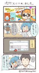 1boy 2girls 4koma :d ;p ? black_hair chair comic commentary_request computer directional_arrow domino_mask inkling ipad labcoat mask monitor multiple_girls one_eye_closed open_mouth orange_eyes orange_hair personification ponytail smile splatoon spoken_question_mark tablet_pc tentacle_hair tongue tongue_out translation_request tsukigi twitter twitter_username waving_arm yellow_eyes