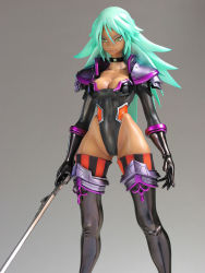 1girl breasts character_request collar dark_skin female figure gradient_background green_hair legs leotard long_hair photo solo sword weapon