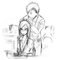 1boy 1girl animal_ears business_suit computer_keyboard ear_grab glasses long_hair monitor monochrome office_lady original parted_lips yanagida_fumita