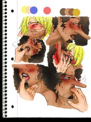 big_lips blind_fold blush cum facial_hair gold_eyes long_nose one_piece orgasm sanji sucking sweat tongue_out usopp