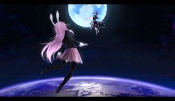 2girls animal_ears black_dress black_legwear blue_hair bobby_socks book bunny_ears capelet dream_soul dress earth euphori_cat flying from_behind grid hat highres letterboxed loafers long_hair long_sleeves looking_at_another moon multiple_girls nebula nightcap no_shoes open_book pink_skirt pleated_skirt pom_pom_(clothes) purple_hair reisen_udongein_inaba shoes short_hair short_sleeves skirt socks space star_(sky) suit_jacket thighhighs touhou zettai_ryouiki