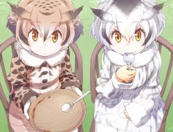 2girls :| blonde_hair brown_coat brown_hair buttons chair closed_mouth coat collar curry curry_rice day dish eurasian_eagle_owl_(kemono_friends) expressionless eyebrows_visible_through_hair eyelashes food food_on_face fur_collar gloves gradient_hair grass grey_coat grey_hair hair_between_eyes head_wings holding holding_spoon kemono_friends large_buttons light_brown_hair long_sleeves looking_at_viewer mochi444420 multicolored multicolored_clothes multicolored_coat multicolored_hair multiple_girls northern_white-faced_owl_(kemono_friends) orange_eyes outdoors rice rice_on_face sitting smile spoon spoon_in_mouth tsurime white_coat white_gloves white_hair wings wooden_chair yellow_eyes