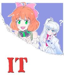 2girls blue_eyes commentary_request eye_scar freckles green_eyes hair_ribbon iesupa it_(stephen_king) multiple_girls namesake orange_hair penny_polendina pennywise ponytail pun question_block ribbon ripping rwby title weiss_schnee white_hair