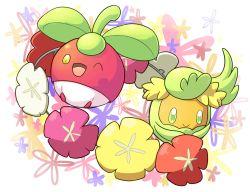 aquabluu bounsweet comfey flower green_eyes leaf no_humans one_eye_closed open_mouth pokemon pokemon_(creature) pokemon_(game) pokemon_sm simple_background white_background yellow_eyes