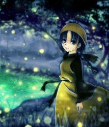 1girl black_hair braid eyelashes fireflies forest grey_eyes headdress highres ling_shen_hua long_dress looking_at_viewer nashiko_(tinyrelation) nature shenmue shenmue_ii smile solo twin_braids