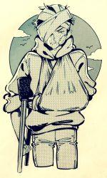 1boy arm_sling backlighting bandage bandage_on_face bandaged_head circle crutch crying denim hoodie jeans karamatsu male_focus monochrome osomatsu-kun osomatsu-san pants