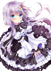 1girl :o bangs black_bow black_bowtie black_ribbon blue_eyes blush bow bowtie crescent crescent_hair_ornament dress dutch_angle eyebrows_visible_through_hair floating_hair frilled_dress frilled_shirt_collar frilled_sleeves frills gothic_lolita hair_between_eyes hair_ornament kantai_collection layered_skirt lolita_fashion long_hair long_sleeves looking_at_viewer nogi_takayoshi parted_lips petals puffy_long_sleeves puffy_sleeves ribbon short_hair_with_long_locks silver_hair simple_background solo too_many too_many_frills v_arms white_background yayoi_(kantai_collection)