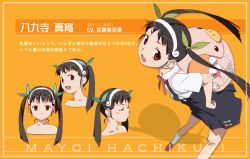artist_request backpack bag bandaid bare_shoulders bow character_sheet dress fang from_above hachikuji_mayoi hair_ribbon hairband looking_back monogatari_(series) nisemonogatari official_art randoseru red_eyes ribbon smile twintails watanabe_akio