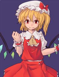 1girl ascot bangs blonde_hair bow closed_mouth cowboy_shot crystal flandre_scarlet hat hat_bow hat_ribbon highres looking_at_viewer miyo_(ranthath) mob_cap puffy_short_sleeves puffy_sleeves red_bow red_eyes red_skirt red_vest ribbon short_sleeves side_ponytail skirt skirt_set smile solo touhou vest wings wrist_cuffs