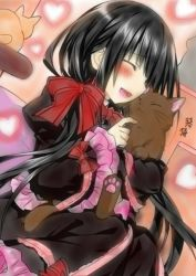 1girl black_hair blush cat date_a_live gothic_lolita lolita_fashion long_hair ribbon tokisaki_kurumi